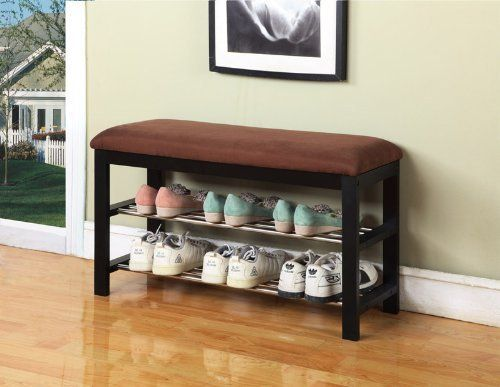Black / Chocolate Micro Fabric Shoe Rack Storage Organizer & Hallway Bench eHomeProducts