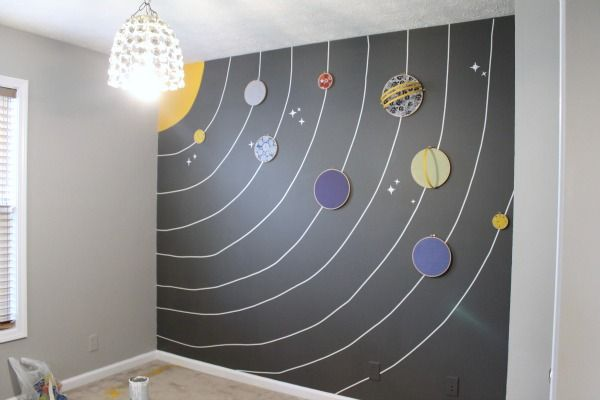 I bought an extra embroidery hoop and cut the rings in half and we painted them yellow and hot glued them to Saturn and Uranus. Yep, I just found a way to legitimately use 'Uranus' on my blog. Boom. And also, I'm 8 years old.