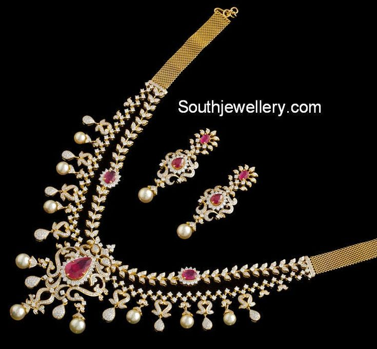 Exquisite Ruby Diamond Necklace Set