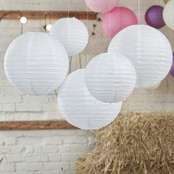 5 boules en papier blanche pour décoration plafond, garden party