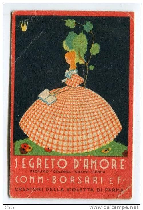 Vintage Italian Posters ~ #illustrator #Italian #vintage #posters ~ FIGURINA PUBBLICITà CARTA PROFUMATA PROFUMO BORSARI VIOLETTA DI PARMA PARFUME CARTE PARFUMéE