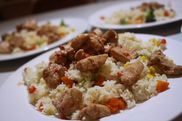 'Fried' Rice with Chilli Chicken