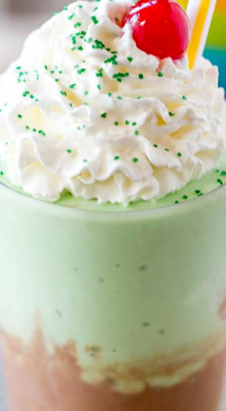McDonald's Chocolate Shamrock Shake (Copycat) ~ A mix of their classic chocolate shake made with vanilla soft serve and chocolate syrup topped with their classic Shamrock Shake on top.