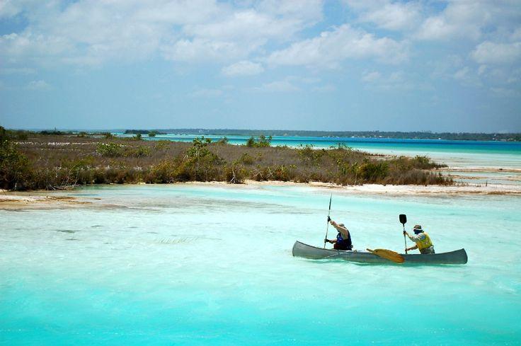 Mexico - Esta en Bacalar, Quintana Roo, se le conoce como la laguna de los 7 colores debido a que sus colores varían de acuerdo a la hora del día y profundidad a la que te encuentres, estos van desde el azul turquesa, azul cielo, hasta el azul marino. ¡Ideal para navegar en kayac!.