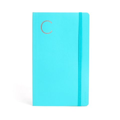 coolest office supplies. poppin aqua medium soft cover notebook personalized monogram with silver initials desk accessories cool office suppliesdesk coolest supplies