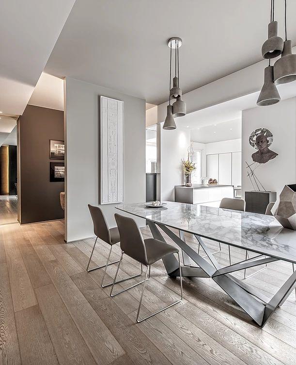 BRANDO concept    Contemporary style interior design moderno sala da pranzo living tavolo cattelan italia piano marmo calacatta arredamento