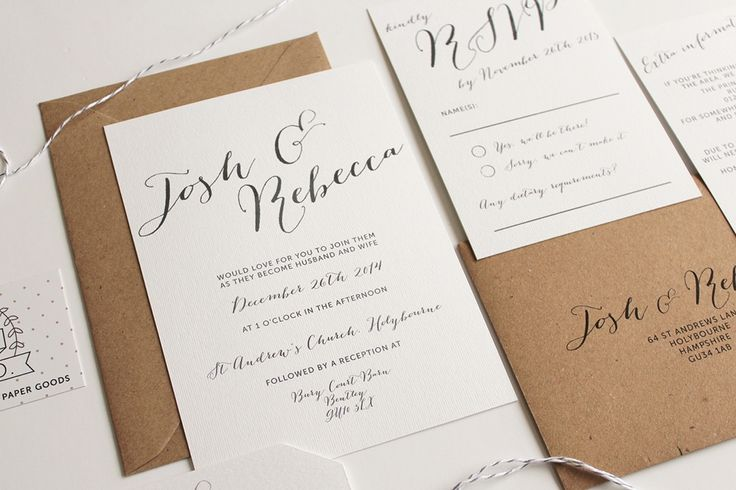 Contemporary Wedding Stationery Designs with beautiful calligraphy front by Pear Paper Co. | http://www.rockmywedding.co.uk/rmw-rates-pear-paper-co/