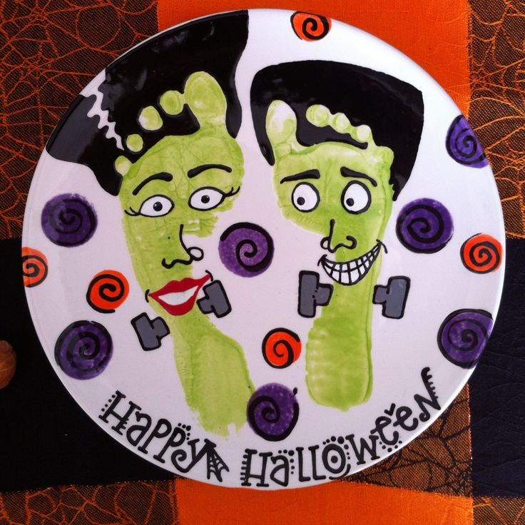 Halloween footprints! Ceramic paint your own potter and more! Frankenstein Feet Plate & 17 Best images about Halloween Decorations on Pinterest | Spooky ...