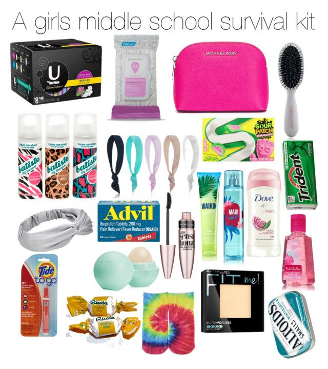 Wish my mom would make me this Survival Kit... With all this stuff in it. Gum, Pads, Altoids, Tide To Go Pen, Chapstick, Headband, Hair Ties, Cough Drops, Makeup, Socks, Hand sanitiser, Lotion, Body Mist, Brush, Wipes, Advil (Optional), And a bag big enough!!!