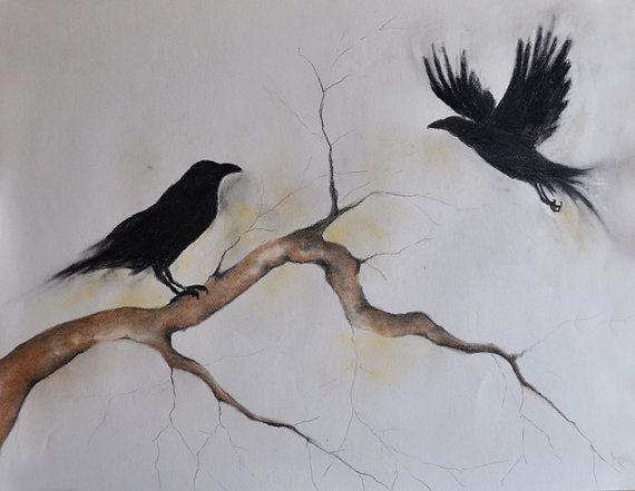 "Original Charcoal Drawing Crow Art Dark Gothic Large Drawing 26x20"""