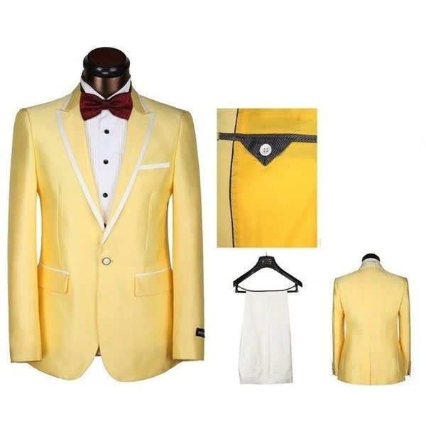 Peaked Lapel One Button Yellow Men Suits New Arrival2017Terno Slim Fit... ❤ liked on Polyvore featuring men's fashion, men's clothing, men's suits, mens slim fit tuxedo, mens slim suits, mens peak lapel suits, mens dinner suits and mens tuxedo blazer