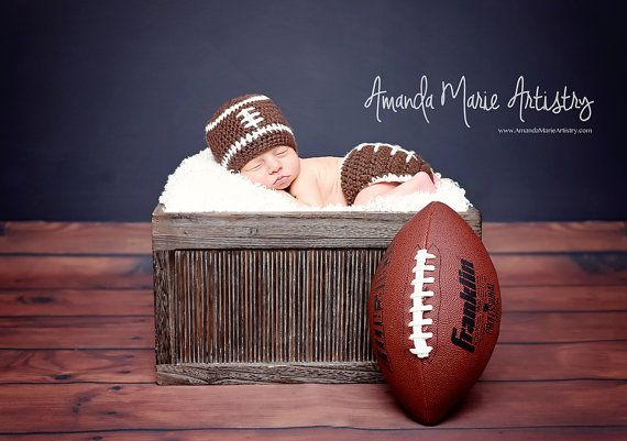 Football Team ,Crochet baby boy Hat & Diaper Cover- Baby Football outfit- crochet baby shower gift - newborn photography prop. newborn