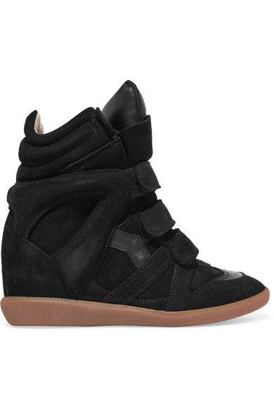 ISABEL MARANT Bekett Leather-Trimmed Suede Wedge Sneakers. #isabelmarant #shoes #sneakers