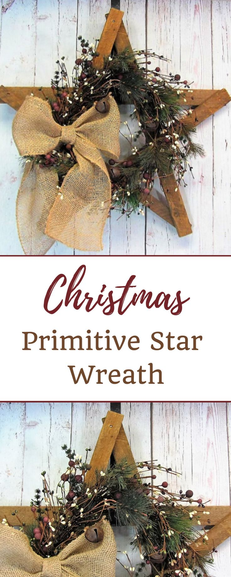 Beautiful rustic tobacco lathe star is decorated with a primitive pine garland with red/green/ivory berries, jingle bells and accented with a natural brown burlap bow. #rustic #christmas #wreaths #ad