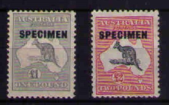 Australia Kangaroo Commonwealth High Value SPECIMENS £1&£2 CofA Wmk MLH SG137/8