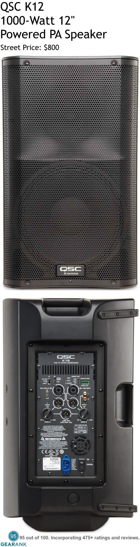 """QSC K12 1000W 12"""" Powered PA Speaker. The QSC K12 gets positive reviews for its loud yet clear sound as well as the variety of connectivity options it provides. Reliability is also praised by musicians who have been regularly gigging with this speaker, citing the speaker's tough ABS exterior and solid build as noteworthy features.  For a Guide to The Best Powered PA Speakers see https://www.gearank.com/guides/powered-pa-speakers"""