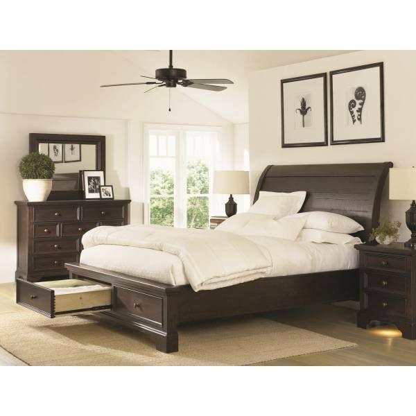 Bayfield Sleigh Bed (K) W/Storage | Aspen Furniture | Star Furniture |