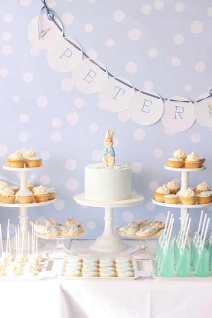 peter rabbit christening! So, so adorable! Love the blue and white color scheme, the polka dot backdrop, the banner and the abundance of cakes! Great styling and recipes on this blog- hellonaomi