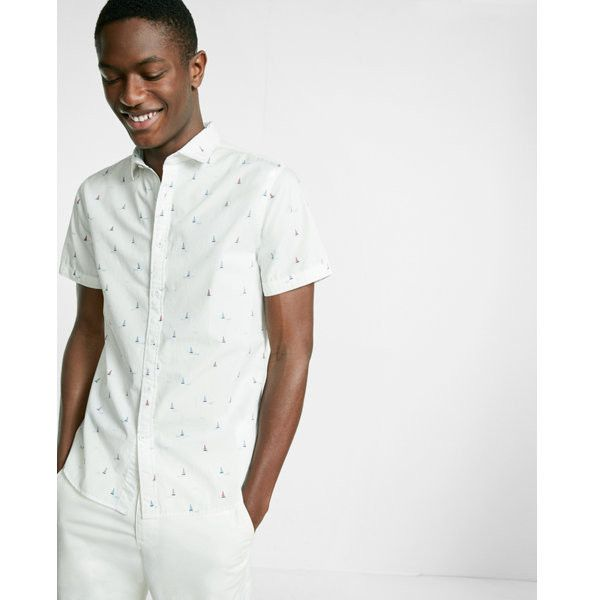 Express Sailboat Print Short Sleeve Cotton Shirt ($41) ❤ liked on Polyvore featuring men's fashion, men's clothing, men's shirts, men's casual shirts, white, mens short sleeve cotton shirts, mens white short sleeve shirt, mens cotton shirts, mens casual short sleeve shirts and mens white shirts