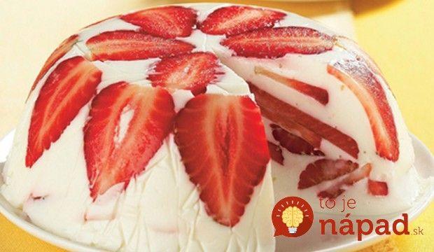 Nepečená jogurtová torta s jahodami