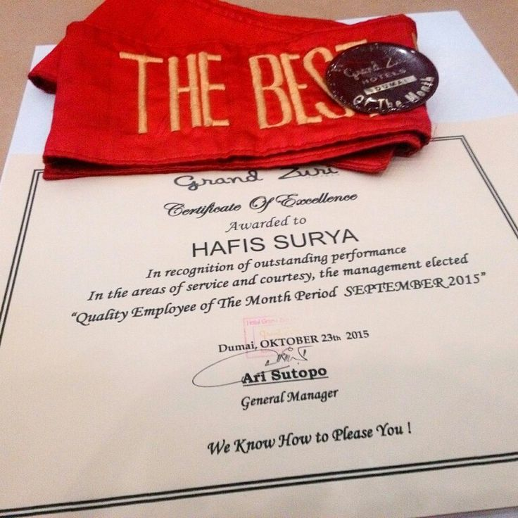 Congratulation Mr. Hafis Surya for The Best Employee October 2015