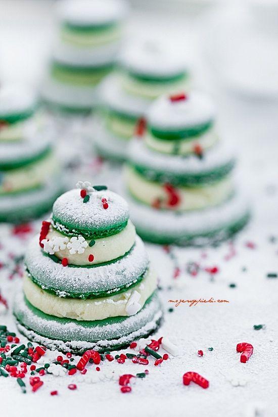 Macarons sapins de Noël