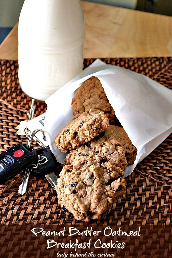 Lady Behind The Curtain - Peanut Butter Oatmeal Breakfast Cookies