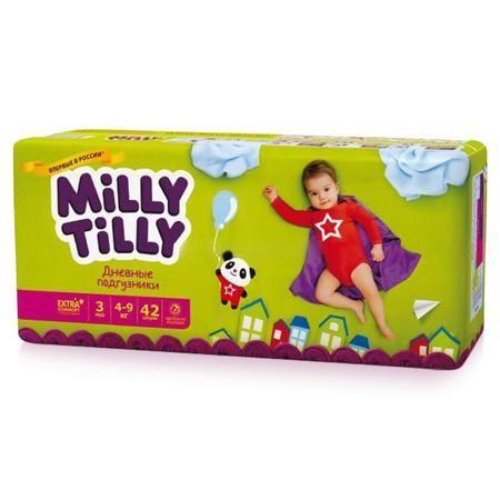 Подгузники Milly Tilly 3 (4-9 кг), 42 шт  — 700р. -------------- Дневные подгузники Milly Tilly - оптимальный выбор современной заботливой мамы, для которой на первом месте стоит здоровье малыша. Структура верхнего слоя в виде сот обеспечивает свободную циркуляцию воздуха внутри подгузника, позволяя коже младенца дышать. Благодаря двум эластичным пояскам, Milly Tilly прилегают к телу и не стесняют движений малыша. Нежные оборочки с тремя резинками предотвращают раздражение от натирания…