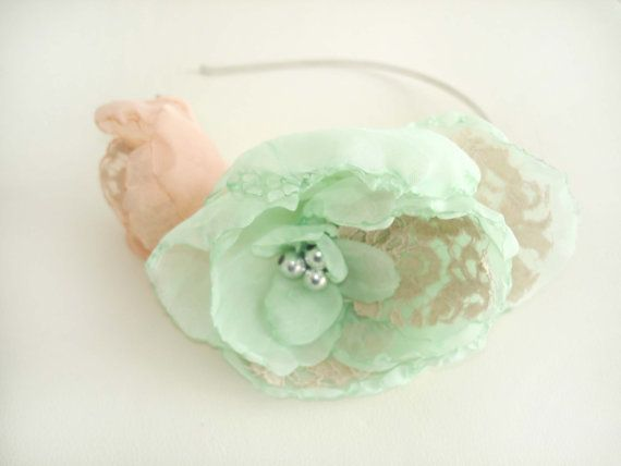 Peach And  Mint Wedding Headband, Flower Fascinator Bridal Headband, Wedding Hair Piece , Lace Hair Accessory,  Bridal Head Piece