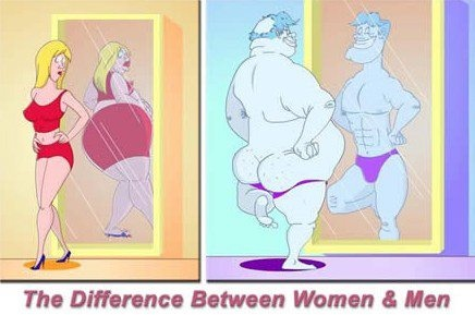 The difference between men and women: Funny Cartoon, Diet Tips, Funny Pictures, Body Image, Funny Stuff, So True, Clean Jokes, Weights Loss, Men Vs Women