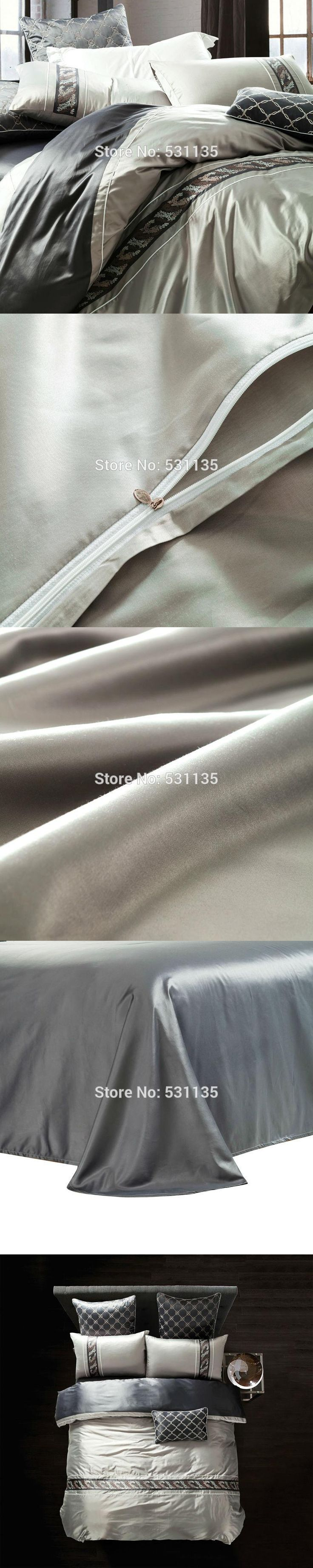 Luxury Bedding sets silver gray Linens Polyester and Cotton Blend Queen King size duvet cover sets