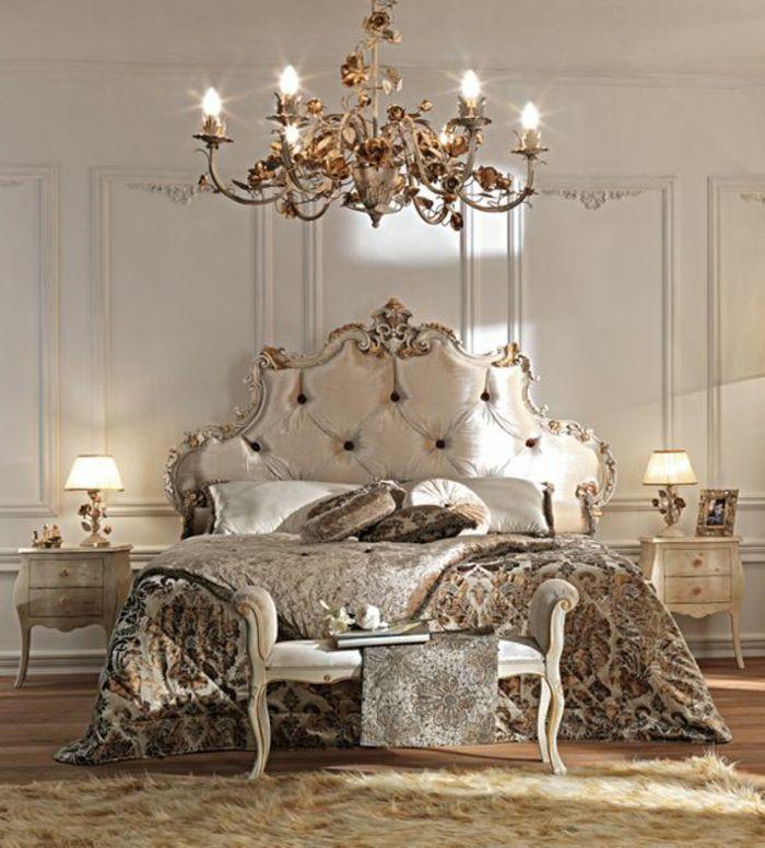 chambre à coucher style baroque, tete de lit capitonnée en beige, tapis en fourrure beige