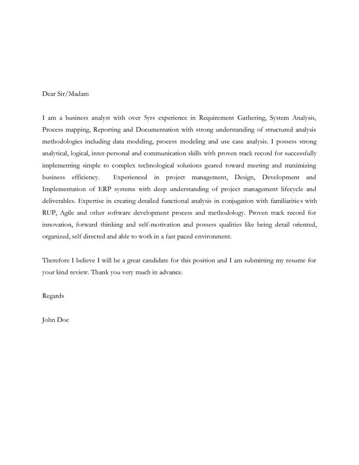 cover letter for business system analyst financial example