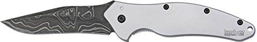 Kershaw 1840DAM Shallot Folding Knife Assisted 3-1/2' Damascus Plain Blade, Stainless Steel Handles *** You can find out more details at the link of the image.
