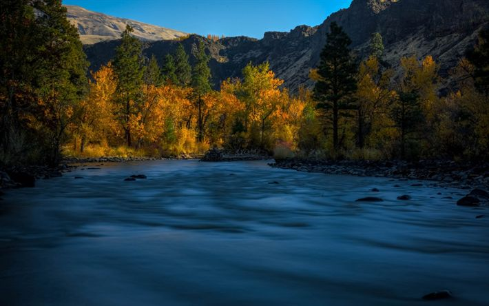Download wallpapers Naches River, mountain river, autumn, sunset, forest, mountain landscape, USA, Washington State