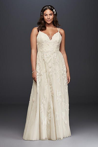 9add0c76598a Plus Size A-Line Wedding Dress with Double Straps 8NTMS251177, presented by David's  Bridal. #boho #weddingdress #bohoweddingdress #plusweddingdress ...