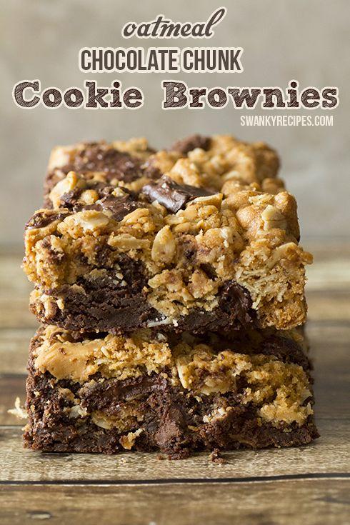 Oatmeal Chocolate Chunk Cookie Brownies - Half oatmeal cookie and half decadent fudge brownie.