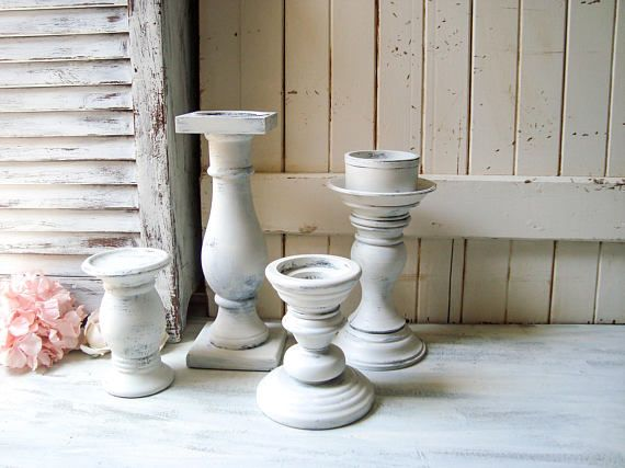 Shabby Chic Chunky White Candle Holders White Distressed