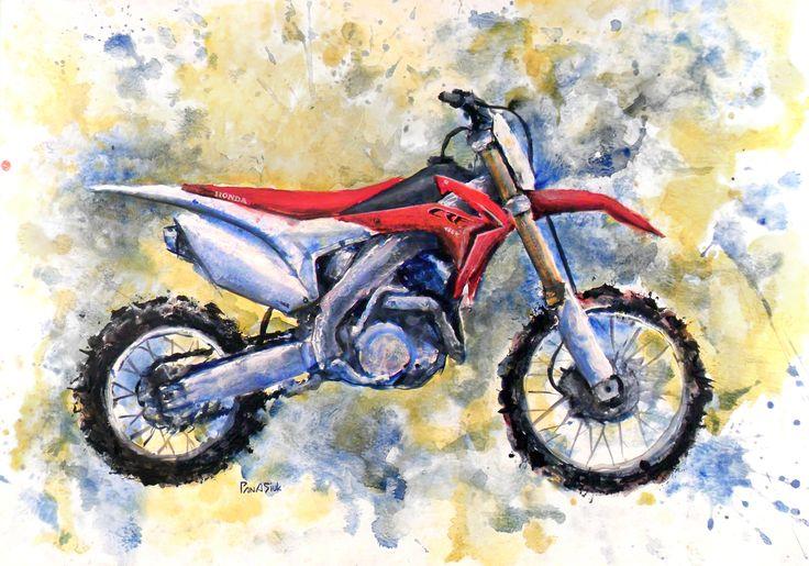 Acrylic-color, moto, #motoart, #motocross, #moto_painting, honda, hand_drawing