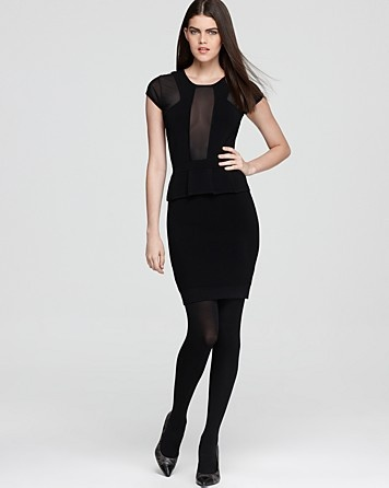 French Connection Dress - Dani Peplum Sheer Inset | Bloomingdale's