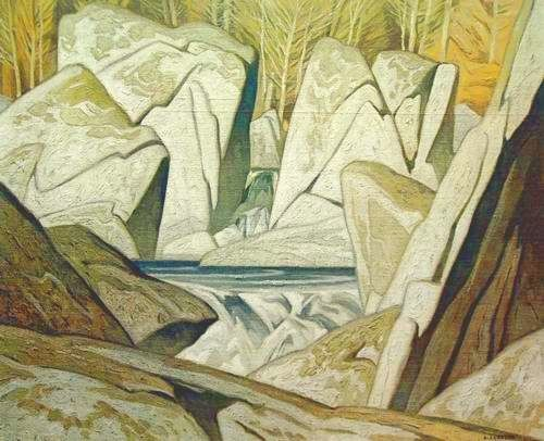 """A.J. (Alfred Joseph)Casson - """"Rock Cluster"""" - Alfred Joseph Casson,(bornMay 17, 1898,Toronto,Ontario,Canada—died February 19, 1992,Toronto),Canadian painter who was a member of theGroup of Seven, a group of painters that forged a national identity through the visual arts with their paintings of the Canadianlandscape."""
