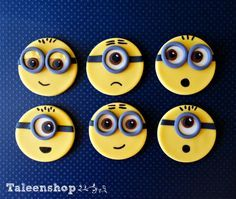 Minions fondant cupcake toppers by Taleenshop on Etsy