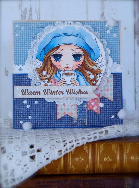 Synnøves Papirverksted, Whimsy Stamps, Maja Design, Christmas card, handmade, Copics, winter