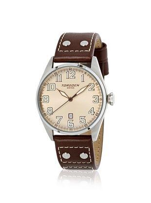 Torgoen Men's T28103 Brown/Cream Stainless Steel Watch