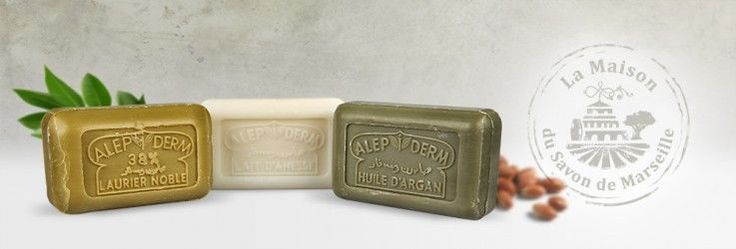 Aleppo Soaps | Huile d'Argan Savon de Marseille | Donkey Milk Soap We offer 3 different types of Aleppo soap: the thoroughly nourishing Argan oil, the Donkey Milk that quickly hydrates the top layer of the skin, and the laurel berry oils which remain equivalent to traditional soap.