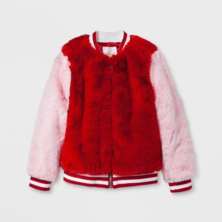 Toddler Girls' Fur Bomber Jacket - Cat & Jack Red Velvet 12 M