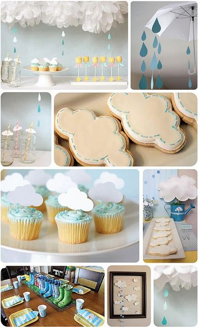 Weather and Rainbow Baby Shower Ideas from @Patty Mullen. Such a fun theme and some very cute baby shower decor - pom pom clouds with raindrops, cloud toppers on straws and cupcakes, adorable cloud cookies and so much more!