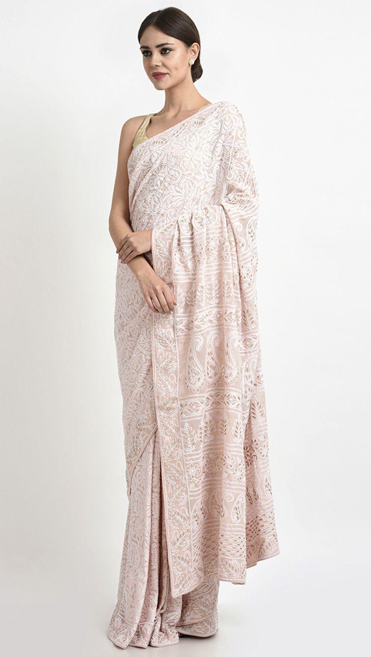 688e3a36af7 Heirloom Pick Nude Pink Chikankari And Gota Patti Pure Georgette ...
