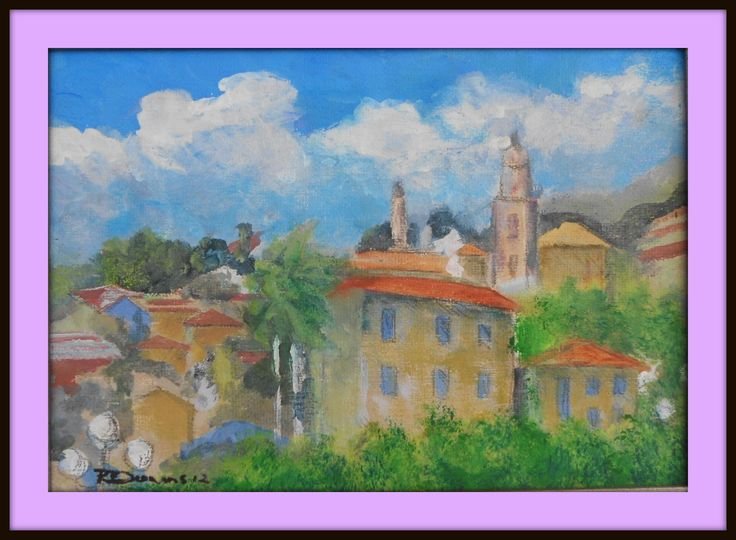 Italian Village scene. An earlier painting from Feb 2012. After this painting I stopped for about three months before picking up another brush ..... size 210 mm x 210 mm. for Sale $ 15