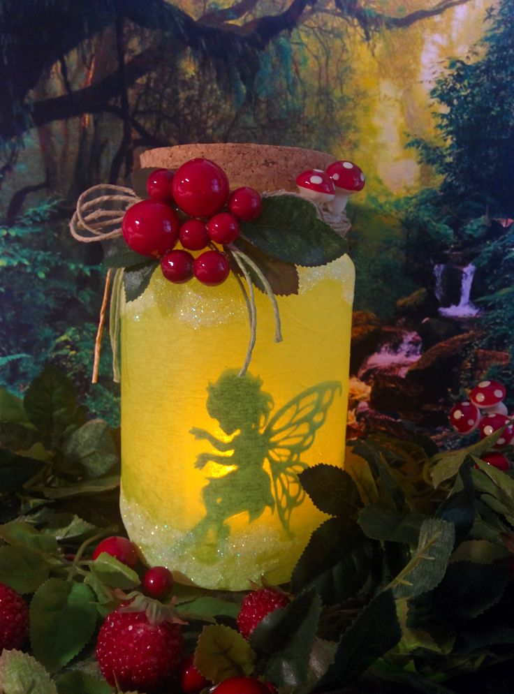 Green fairy Jar with glitter and red berries